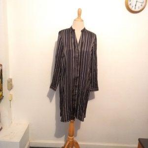 Ann Taylor Navy Blue Striped Dress.